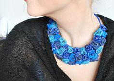 Would make a perfect gift for mother's Day! Royal blue necklace leather bib handmade jewelry by LaPuteShop