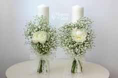Flowers of Soul: Lumanari de cununie Wedding Cake Cookies, Wedding Cakes, Candle Centerpieces, Candles, Flower Decorations, Wedding Decorations, Baptism Candle, Plate Wall Decor, Baby Room Decor