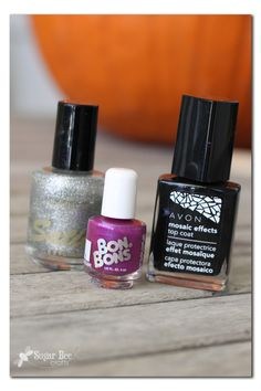 Halloween Mosaic Nails, with spider decal - Sugar Bee Crafts