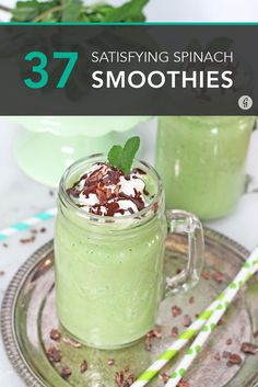37 Spinach Smoothies That Satisfy Every Craving especially on Organizing Day! #smoothies #spinach #recipes