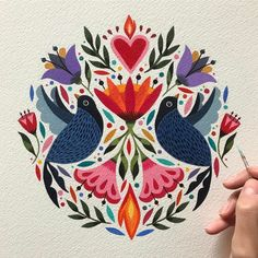 "7,032 Me gusta, 73 comentarios - Maya Hanisch / Pili (@maya_hanisch) en Instagram: ""Happy monday everyone! Feliz Lunes amigos!  #painting #folkartist #folk #folkart #birds…"""
