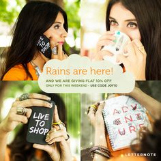 Monsoon Weekend Sale - Flat 10% OFF on all #LetterNote products. Use code - JOY10. Get Wet Now :)  #sale #discount #shopping #offer #weekend #design #designstore #PerfectGift #giftideas #gift #lifestyle #accessories #phonecover #stationery #mugs #fashion #life #love #beautiful #colorful #creative #unique #inspiration #littlethings #doepicshit