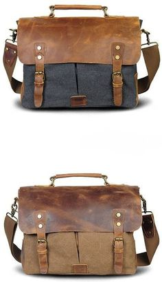 "Size: L:13.5"" H: 11"" W:4"" Exterior: Two large side-by-side pockets shrouded by a genuine leather flap-over, secured and accented with brass buckles and rivets. Interior: Small brass zipper pocket, lig"