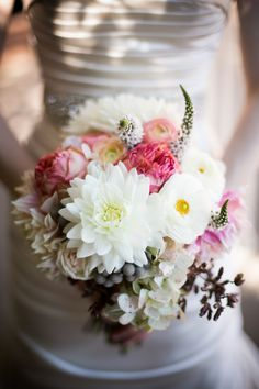 Pink & gray accented bouquet   Red Shoes Photography
