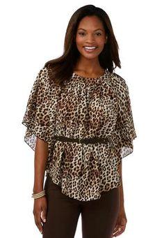 1f247edf6647f Cato Fashions Leopard Belted Poncho Top-Plus  CatoFashions Leopard Belt