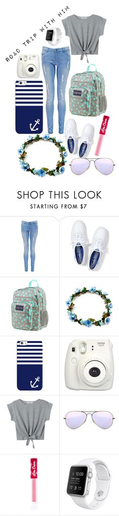 """Road Trip With Him"" by hipopaws on Polyvore featuring Boohoo, Keds, JanSport, Casetify, WithChic, Ray-Ban and Lime Crime"