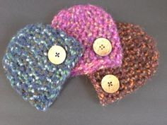 Soft winter baby hat with button pink by BloomingRoseCrochet
