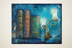 Candle Light And Old Books Small 8x10 Original by TerraArtGallery, $48.00
