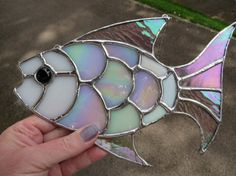 Opal Fish Beautiful Exotic White Stained Glass by pewtermoonsilver