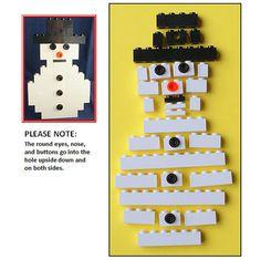 Build-it Kit LEGO Flat Snowman Christmas Ornament by ornaments4charity