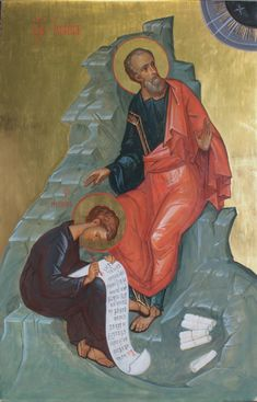 Icon of the Holy Apostle and Evangelist John the Theologian dictating the Fourth Gospel. Four Gospels, Byzantine Icons, Orthodox Christianity, Orthodox Icons, Religious Art, Saints, Religion, Projects, Painting