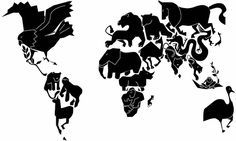 Animal planet world map. Map Tattoos, Tatoos, World History Lessons, Map Painting, Like Animals, Animal Tattoos, Map Art, Photo Art, Planets