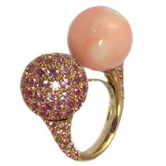 Chantecler Coral and Pink Sapphire Toi et Moi Ring | 1stdibs.com