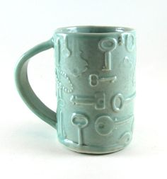 Handmade Spark - Botanic2Ceramic - Porcelain Hand Built Mug / Ceramic Coffee Mug / Celedon Green Keys / 768