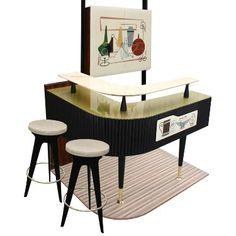 retro home bar Modern Home Bar, Modern House Design, Modern Interior Design, Mid-century Modern, Modern Luxury, Home Bar Furniture, Retro Furniture, Furniture Ideas, Furniture Websites