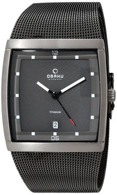 Obaku Men's Quartz Titanium and Stainless Steel Dress Watch, Color:Grey (Model: V102GDTJMJ). Titanium Gun Metal IP square watch with super luminous dial markers and mesh strap. Durable hardened mineral crystal protects watch from scratches. Analog-quartz Movement. Case Diameter: 36mm. Water resistant to 30m (100ft): in general, withstands splashes or brief immersion in water, but not suitable for swimming or bathing.