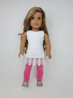 American Girl doll clothes  - Sleeveless white  tunic with lace trim and pink leggings by JazzyDollDuds.