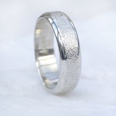 Men's Silver Ring with Concrete Texture 6mm Sterling