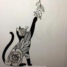 Rose cat tattoo design by Betty Rose- this would be a super cute wrist tattoo! #Tattoodesigns