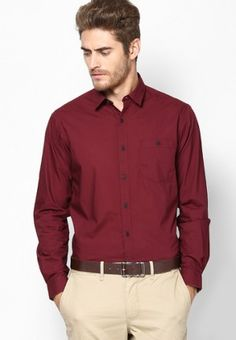Maroon shirt with Beige pant
