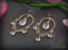 Rose Quartz Pyrite Gold Chandelier Earrings by TheGemGypsy on Etsy, $75.00 Gold Chandelier Earrings, Wire Earrings, Metal Jewelry, Gemstone Jewelry, Sundance Jewelry, Jewelry Ideas, Unique Jewelry, Homemade Jewelry, Statement Jewelry