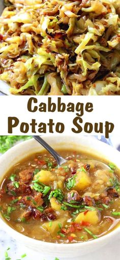 A simple cabbage potato soup recipe made with just a handful of humble ingredien. - A simple cabbage potato soup recipe made with just a handful of humble ingredients, done just right - recipes healthy Cabbage Potato Soup, Cabbage Soup Diet, Cabbage Soup Recipes, Simple Cabbage Recipe, Soup With Cabbage, Simple Potato Soup, Vegetable Soup Cabbage, Cabbage Ideas, Vegetable Soup Recipes