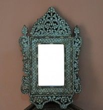Vintage Handcrafted Syrian Mother of Pearl Inlaid Wood Mirror Frame