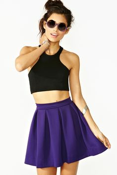 Nasty Gal Scuba Skater Skirt Violet in Purple (violet)