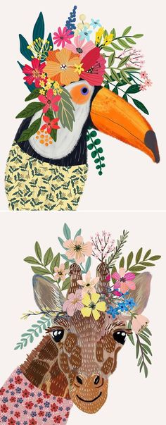 illustration # bunte # Tiere # tragen # Blumen # Kronen How Would You Like To Design Y Art And Illustration, Floral Illustrations, Illustration Animals, Stoff Design, Creation Deco, Guache, Animal Drawings, Drawing Animals, Art Inspo