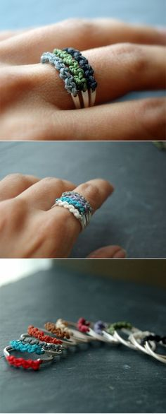 DIY ring~~~cute~~~ - vintage style - It's half friendship bracelet and half ring! I could make these for my friends instead of a friendship bracelet (since I never wear them/destroy them) Cute Crafts, Crafts To Do, Diy Crafts, Simple Crafts, Sewing Crafts, Diy Schmuck, Schmuck Design, Jewelry Crafts, Handmade Jewelry