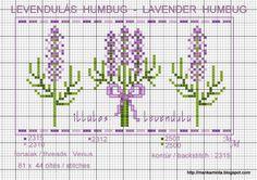 Sprigs of lavender Biscornu Cross Stitch, Free Cross Stitch Charts, Cross Stitch Borders, Cross Stitch Designs, Cross Stitching, Cross Stitch Embroidery, Cross Stitch Patterns, Stitch Cartoon, Lavender Bags