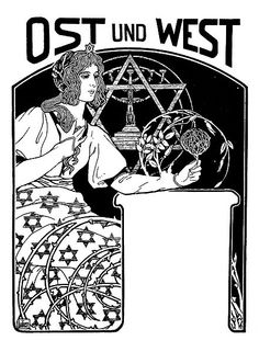 """Ephraim Moses Lilien. 1874-1925. From the cover of """"Umschlagbild für Ost und West"""". 1901."""