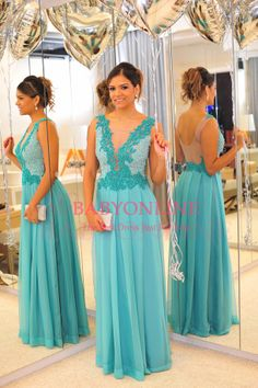 vestidos de chiffon backless see through lace applique decoration blue evening dress prom dress BO3680 $148.75 15% discount off.