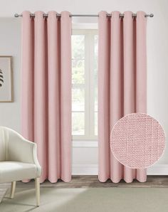 Alexandra Cole Burlap Curtains for Living Room Bedroom Textured Curtains 84 Inch Length Faux Linen Casual Room Darkening Window Curtains 2 Panels Pink