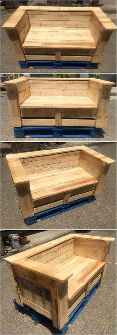 Majestic DIY Pallet Ideas That Show Us The Fun of Recycling: Searching for the recycled old wood pallet ideas for your house? Pallet Furniture Bench, Pallet Garden Benches, Wood Pallet Planters, Recycled Furniture, Fairy Furniture, Furniture Ideas, Recycled Pallets, Wooden Pallets, Wooden Diy