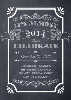 Chalkboard New Year Invitation designed by Petite Papier on Celebrations.com