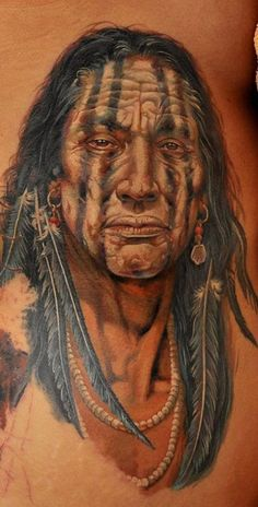 This portrait tattoo of a native American tribal elder uses white tattoo ink to add highlights to the eyes and facial features- realistic, awesome Native American Tattoos, Native Tattoos, Native American Symbols, American Indians, Great Tattoos, Beautiful Tattoos, Awesome Tattoos, Ink Tattoos, Body Art Tattoos