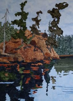 Fabric collage, machine stitched mounted on canvasSOLD Collage, River, Fabric, Painting, Outdoor, Art, Tejido, Outdoors, Art Background