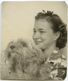 Girl with fluffy dog. #vintage #photobooth