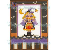 Halloween card...Trick or Treat Witch from Whipper Snapper...very adorable witch...like the card layout with patterned papers and die cut bat border...