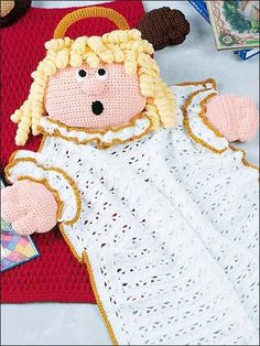 Angel Blanket Buddy - free crochet pattern-I like this because it is a blanket and a doll in one.