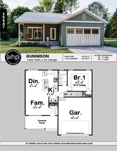 The Gunnison is a handsome traditional style 1 story house plan with a great floor plan to match! The covered porch is an inviting approach to this house plan.This 1 bedroom home has an open great room perfect for entertaining. Garage House Plans, House Plans One Story, Bungalow House Plans, Craftsman House Plans, Modern House Plans, Small House Plans, House Floor Plans, Small Cottage Homes, Cottage House Plans