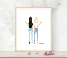 Blonde and brunette friends With Wine, best friend gift, best friend birthday, gift for friend, finally and birthday Friend Birthday Gifts, Best Friend Gifts, Gifts For Friends, Best Friends, 21st Birthday Gifts For Girls, Change Hair Color, Wine Display, Drawings Of Friends, Lady