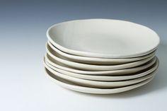 "9"" Natural White Stoneware Plates, Ceramic, Pottery Handmade Stoneware - Sold Individually - stone ware plates ready to ship"