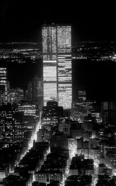 World Trade Center lights the night.