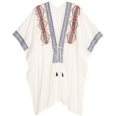 Embroidered Poncho $29.99 ($30) ❤ liked on Polyvore featuring outerwear, white poncho, fringe poncho and cotton poncho