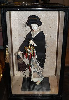..Vintage 1950s Japanese Geisha Doll Kyoto w Umbrella Original Display Case 18 | eBay