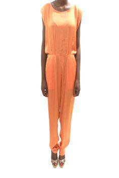 Burnt orange silk jumpsuit #grey #africanfashion #NigerianFashion #BuyNigerian   Available at http://lespacebylpm.com/