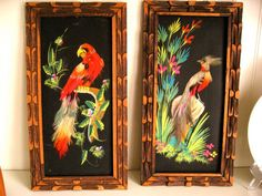 Vintage Mexican Folk Art  Hand Painted and Feathers