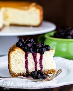 New-York style cheesecake and a blueberry sauce that doubles as a topping for waffles, or anything else you could possibly drown with blueberry sauce.